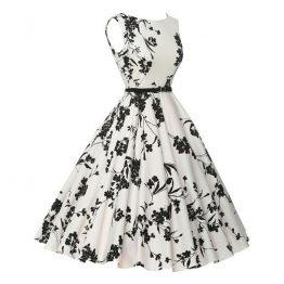 7d89906d1288 Hvid sort vintage kjole 3252