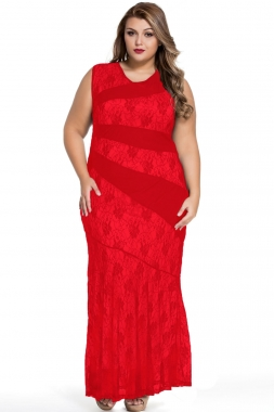 Red-Stylish-Lace-Splice-Plus-Size-Mermaid-Prom-Dress-LC61047-3-16046
